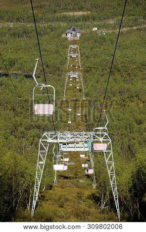 Symmetric Shot Of Chairlift In Abisko, Sweden.