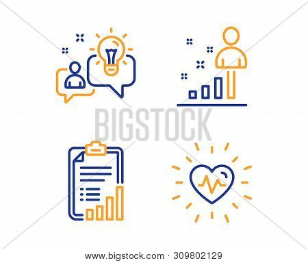 Checklist, Idea and Stats icons simple set. Heartbeat sign. Graph report, Solution, Business analysis. Medical heart. Science set. Linear checklist icon. Colorful design set. Vector poster
