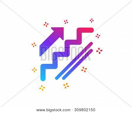 Stairs Icon. Shopping Stairway Sign. Entrance Or Exit Symbol. Dynamic Shapes. Gradient Design Stairs