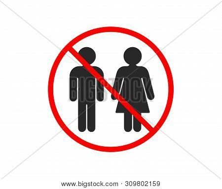 No Or Stop. Restroom Icon. Wc Toilet Sign. Public Lavatory Symbol. Prohibited Ban Stop Symbol. No Re