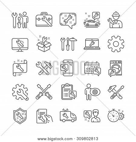Repair Car Service Line Icons. Set Of Screwdriver, Hammer And Spanner Tool Icons. Recovery, Washing
