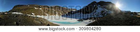 360 Degree Panorama Of Frozen Lake Rissajaure In Northern Sweden.