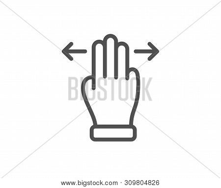 Multitasking Gesture Line Icon. Slide Arrow Sign. Swipe Action Symbol. Quality Design Element. Linea
