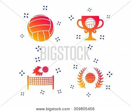 Volleyball And Net Icons. Winner Award Cup And Laurel Wreath Symbols. Beach Sport Symbol. Random Dyn
