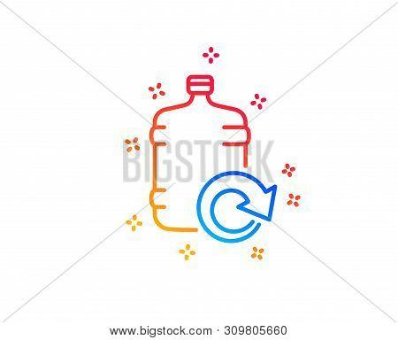 Water Cooler Bottle Line Icon. Refill Aqua Drink Sign. Liquid Symbol. Gradient Design Elements. Line