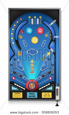 Pinball Game Machine Realistic Top View With Shoot Again Blinking Lights Play Field Ramps Spinners V