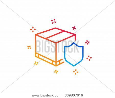 Delivery Insurance Line Icon. Parcels Tracking Sign. Shipping Box Symbol. Gradient Design Elements.