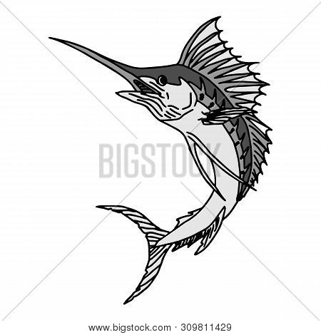 Catching Trout Fish. Fish Color. Vector Fish. Graphic Fish. Fish On A White Background. Fish On A Li