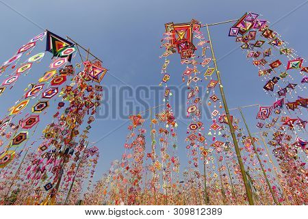 Colorful Tung Flag As Background, Tung Flag Of Isan Kalasin Thailand