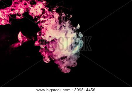 Colored background with winding clouds of smoke from patterns of different forms of pink, green and blue colors with tongues of flame on a black isolated background poster
