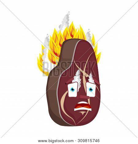 Steak Fire Isolated. Burning Meat Cartoon Style. Beefsteak Vector