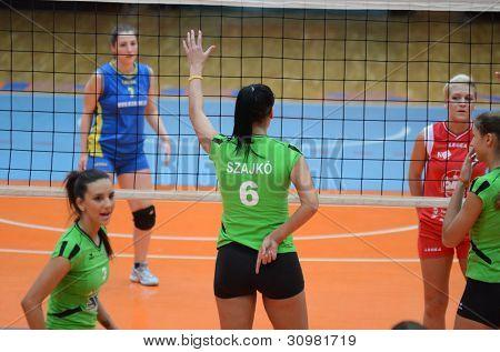 KAPOSVAR, HUNGARY - FEBRUARY 3: Unidentified players in action at the Hungarian Championship volleyball game Kaposvar (red) vs Miskolc (green), February 3, 2012 in Kaposvar, Hungary