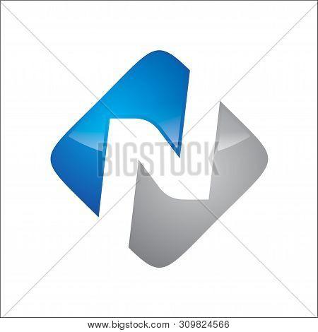 Letter N On Block Logo Vector Blue N Grey Color