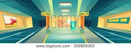 Metro Station, Empty Subway Platform, Underground Interior Design With Map And Ads Banners. Modern M