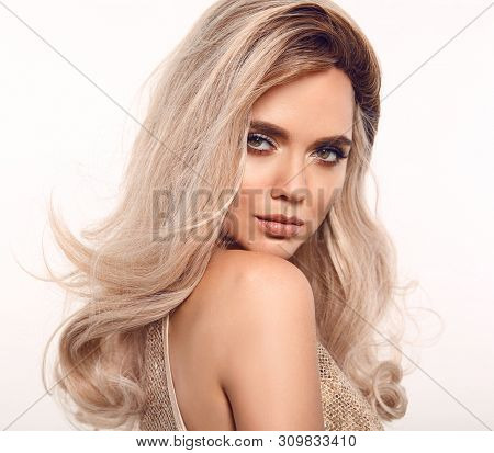 Ombre Blond Wavy Hair. Beauty Fashion Blonde Woman Portrait. Beautiful Girl Model With Makeup, Long