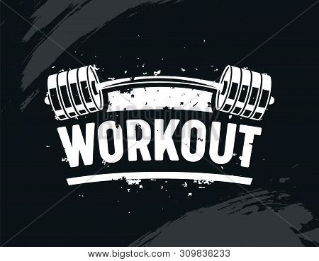 Workout Banner, Exercise In Gym With Barbell, Body Training, Creative Bodybuilding And Fitness Motiv