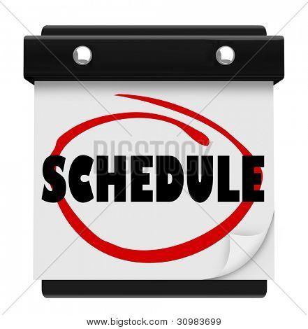 ein Wandkalender mit dem Wort kreiste in rote Markierung, erinnern Sie Ihre tägliche oder wöchentliche