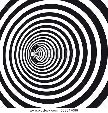 Abstract Black And White Striped Optical Illusion. Geometric Hypnotic Spiral. Geometrical Wormhole S