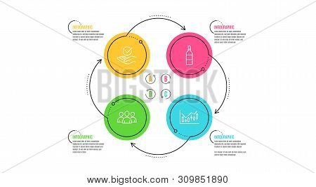 Group, Wine Bottle And Approved Icons Simple Set. Infographic Timeline. Financial Diagram Sign. Grou