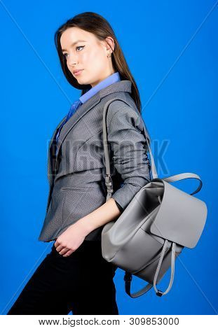 Female Bag Fashion. Business. Shool Girl With Knapsack. Girl Student In Formal Clothes. Student Life