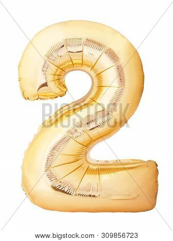 Number 2 Two Made Of Golden Inflatable Balloon Isolated On White Background. Helium Balloon Two 2 Nu