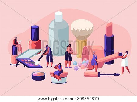 Women In Beautician Parlor. Female Characters Testing Skin Care Products In Beauty Salon. Makeup Cou