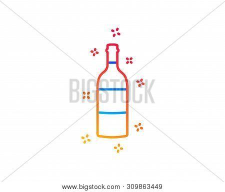 Wine Bottle Line Icon. Merlot Or Cabernet Sauvignon Sign. Gradient Design Elements. Linear Wine Bott