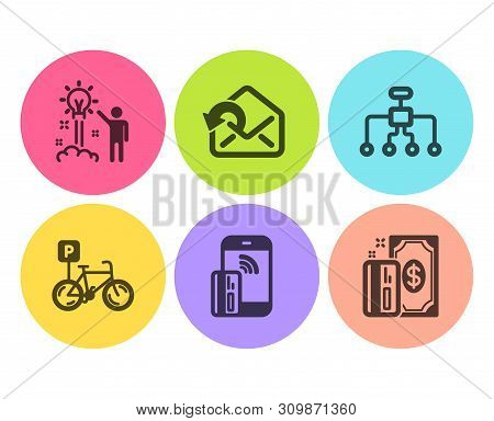 Send Mail, Contactless Payment And Restructuring Icons Simple Set. Creative Idea, Bicycle Parking An