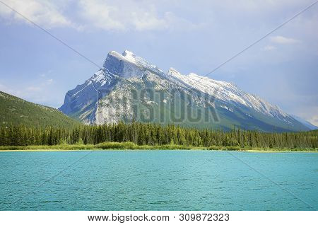 Rundle Mountain And Vermilion Lakes. Banff National Park. Alberta. Canada.