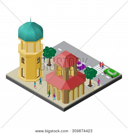 Cityscape In Isometric View. Tower, Town Building, Roadway, Trees, Cars And People.