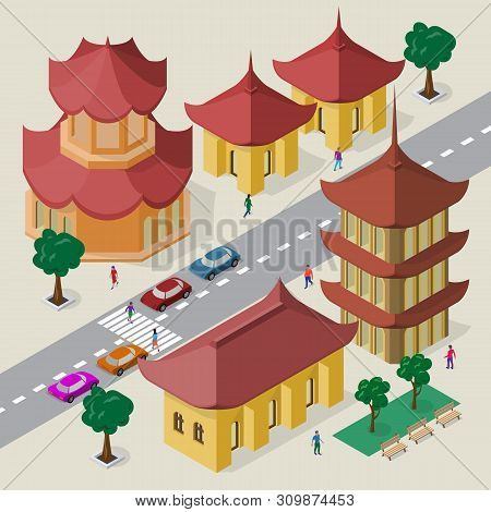 Vector Cityscape In East Asia Style. Set Of Isometric Asian Buildings, Pagoda, Roadway, Benches, Tre