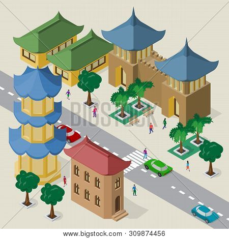 Vector Cityscape In East Asia Style. Set Of Isometric Asian Buildings, Pagoda, Fortress, Roadway, Be