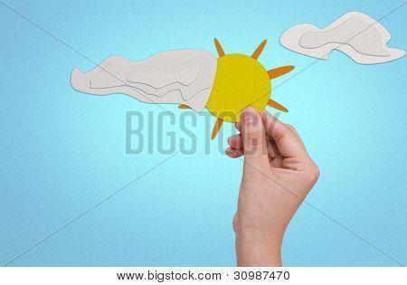 Hand pick paper craft of sun