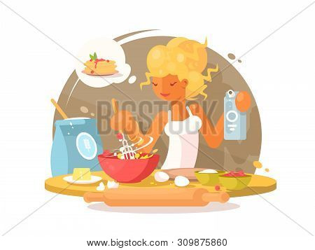 Cute Young Blonde Woman Prepares A Meal