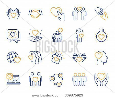 Friendship And Love Line Icons. Interaction, Mutual Understanding And Assistance Business. Trust Han