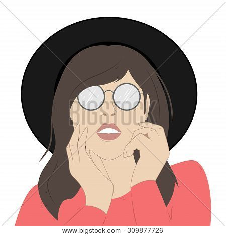 Portrait Of A Girl In Sunglasses And A Wide-brimmed Hat. Fashion Illustration.