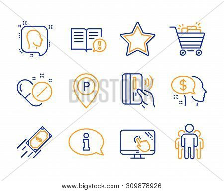 Facts, Fast Payment And Medical Pills Icons Simple Set. Shopping Cart, Pay And Information Signs. Pa