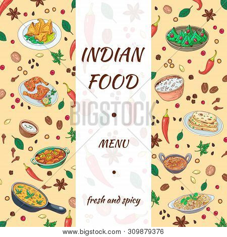 Indian Food Menu Hand Drawn Design. Asian Cuisine Graphics With Delicious Background. Sketch Vegetab