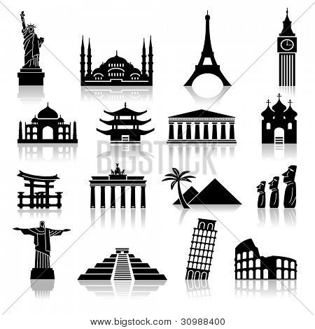 set of icons on the topic of travel and recreation. famous international landmarks.