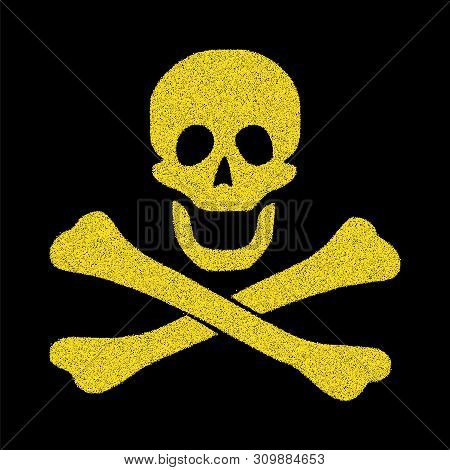 Golden pirate flag. Icon, skull and bone symbol. jolly Roger stipple points. Gold icon danger. Warning symbol set. Halloween concept.