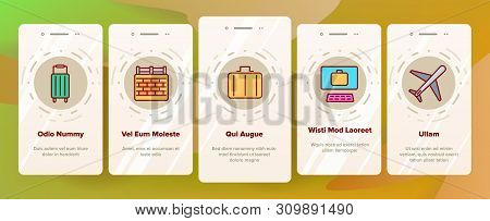 Immigration, Abroad Travel Vector Onboarding Mobile App Page Screen. Immigration, Foreign Country Tr