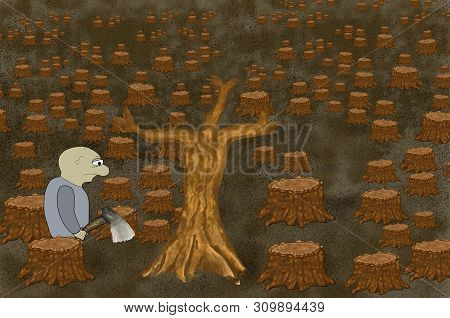 The Concept Of Ecological Problem Connected With The Active Deforestation On The Planet, Which Is De
