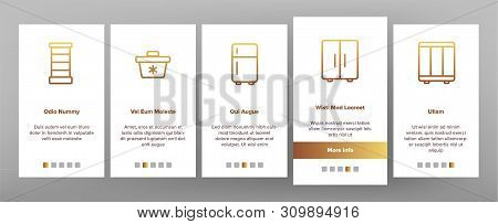 Freezer, Cooling Appliance Onboarding Mobile App Page Screen Vector. Frosting And Icing Thin Line Co
