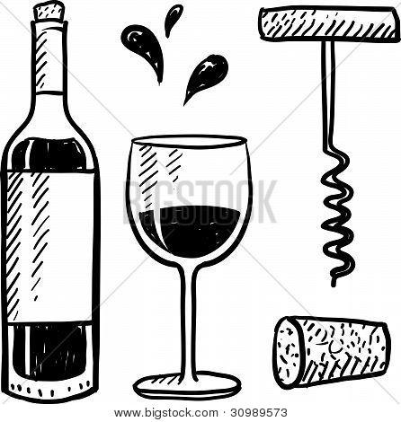 Wine set sketch