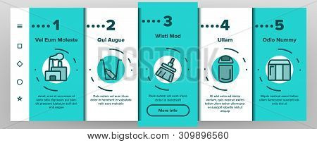 Dumpster, Garbage Container Onboarding Mobile App Page Screen Vector. Dumpster, Trash Illustrations.
