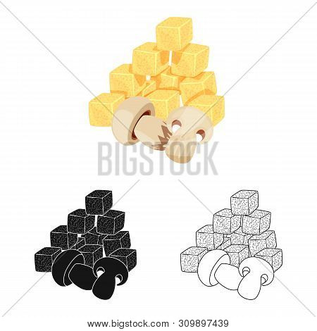 Vector Illustration Of Croutons And Mushroom Symbol. Collection Of Croutons And Snack Stock Symbol F