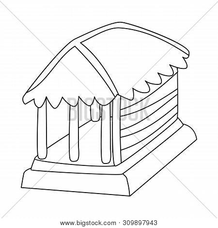 Vector Illustration Of Hut And House Symbol. Set Of Hut And Gazebo Stock Vector Illustration.