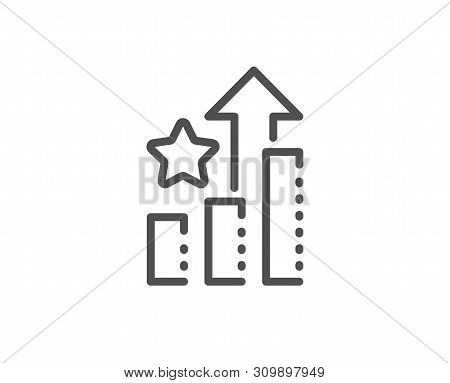 Ranking Star Line Icon. Stars Rating Sign. Best Stats Rank Symbol. Quality Design Element. Linear St