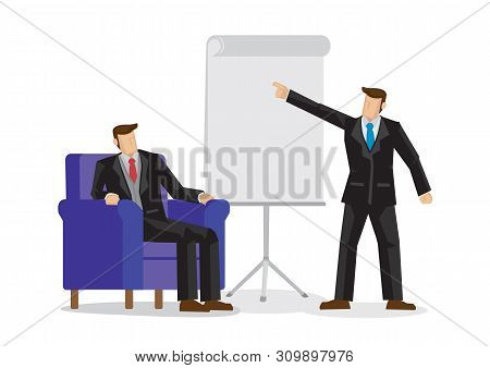 Illustration Of Corporate Business Team Discussion. Business Concept Of Two Business Man Working Tog