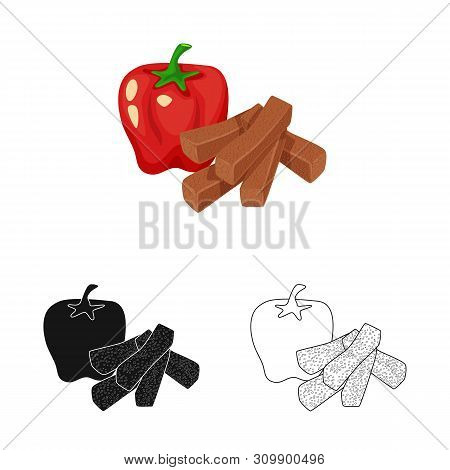 Vector Illustration Of Croutons And Bread Icon. Set Of Croutons And Red Stock Vector Illustration.